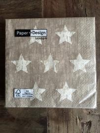 Servetten met sterren taupe van Paper + Design