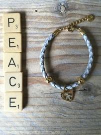 Armbandje Astrelle grijs met Hartje, peace.