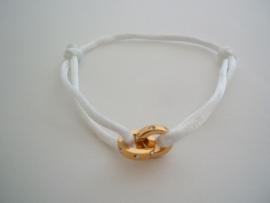 Zijden armbandje met 2 ringetjes, wit