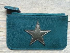 Mini portemonnee met Ster, groen.