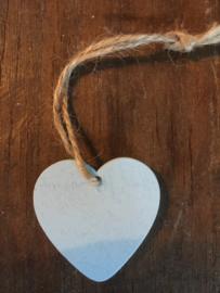 Kadolabel lichtblauw hartje hout, 20 stuks