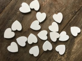 Witte houten hartjes XS per 100 stuks