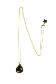 Ketting Blinckstar lang, zwarte Onyx/mini Ster..