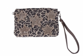 SALE. Clutch Mimic Copenhagen panter/glitter Sterren.