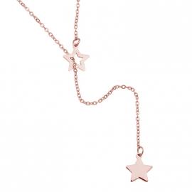 Ketting Stars in zilver, rose of goudkleur.