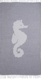 Hamamdoek XL jeansblauw met zeepaardje