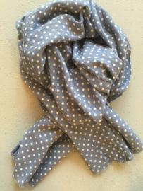 Sjaal jeansblauw/witte polkadot.