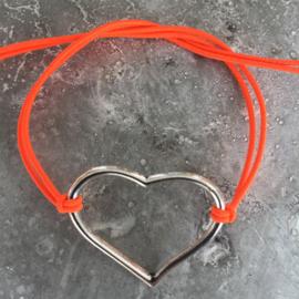 Nieuw! Armbandje Hart neon orange