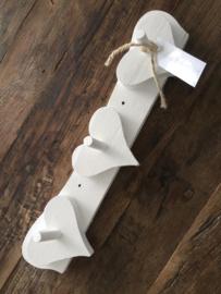 Wit houten kapstok/rekje met Harten