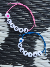 Armbandje elastiek met naam, telefoonnummer of tekst