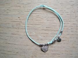 Armbandje Hartje strass/zilver, blue.