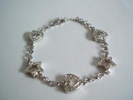 Armbandje Astrelle Harten en Sterren zilver.
