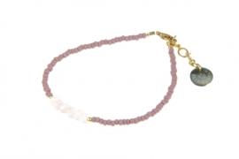 Armbandje Mini Me, lila met rosequartz.