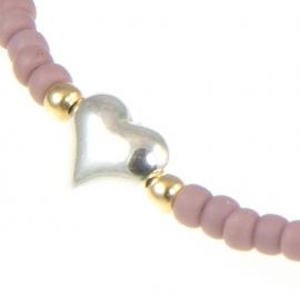 Armbandje Mini Me, lila met zilveren Hartje.