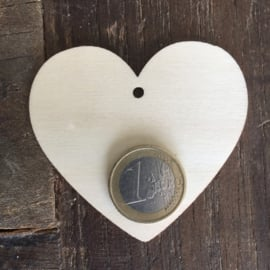 Label houten hart, medium per  20 stuks