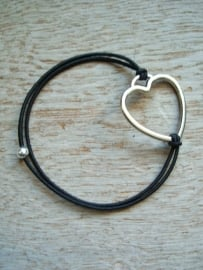 Armbandje Hart elastiek, donkerbruin