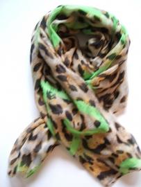 SALE. Sjaal, tijger en Harten neon groen.