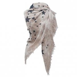 Sjaal zand met vintage zwarte sterren.