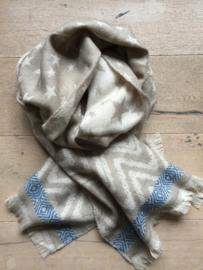 Sjaal ster beige met rand.