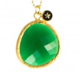 Ketting Blinckstar lang, groene opaal/mini Ster..