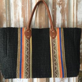 Strandtas zwart met gekleurde band