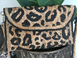 Leopard jute Ibiza love tasje
