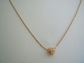 Ketting Hartje Astrelle, goud/zilver.