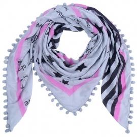 Sjaal bohemian met sterren grijs/pink.
