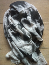 Sjaal, Sterren black/ecru.