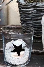 Glas Ster zwart, Twenty Violets per 4 stuks.