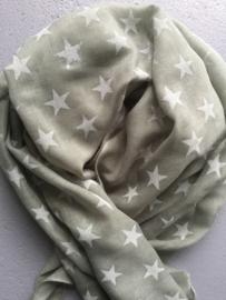Sjaal legergroen met witte sterren