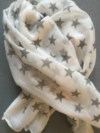 Sjaal wit met grijze sterren.