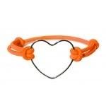 Heart bracelet, oranje en bruin