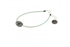 Armbandje Blinckstar, green eagle eye/zilver.