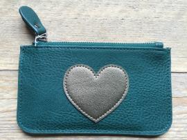 Mini portemonee met hart, groen.