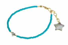 Armbandje Blinckstar mini hart, teal.
