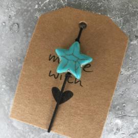 Armbandje elastiek met turquoise ster