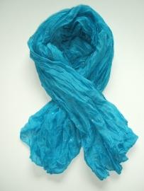 SALE.Sjaal met Sterren, turquoise/zilver.h