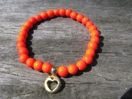 Armbandje Hart oranje/goud.