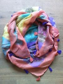 Ibiza sjaal multicolor, Ster en kwastjes.