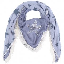 Sjaal bohemian met franjes en ster paillet grijs.