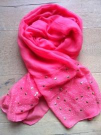 SALE. Sjaal watermelon met gouden Hartjes.