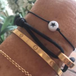 Armbandje zwart elastiek met ster