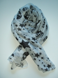 Sjaal met Sterren en doodshoofden, wit.