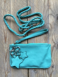 Keycord clutch Ster turquoise.