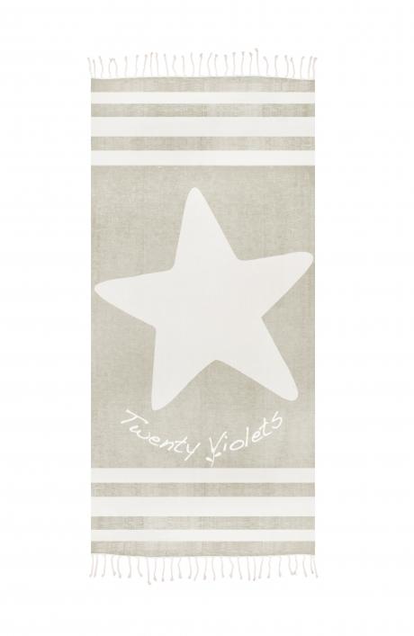 Stranddoek Twenty Violets XL zand met ster.