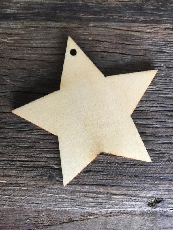 Houten ster small, 25 stuks