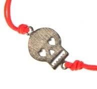 SALE. Armbandje skull, neon orange/pink, mat zilver.