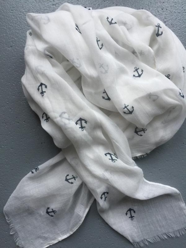 Sjaal wit met blauw anker