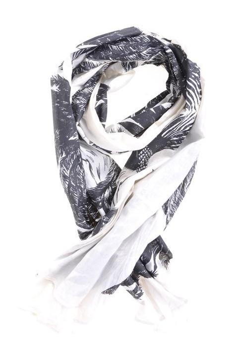 SALE. Sjaal, Mimic Copenhagen, veren en Sterren, ecru/zwart